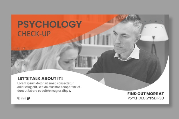 Bannière De Modèle De Bureau De Psychologie Vecteur gratuit