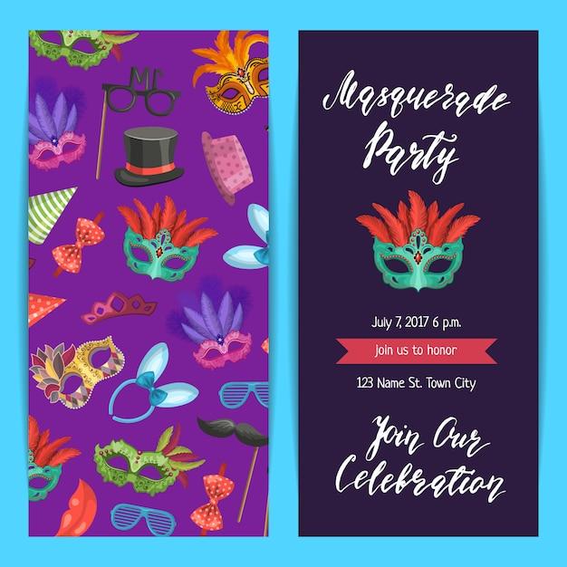 Bannière de modèle invitation parti, affiche avec des masques et ensemble d'accessoires du parti Vecteur Premium