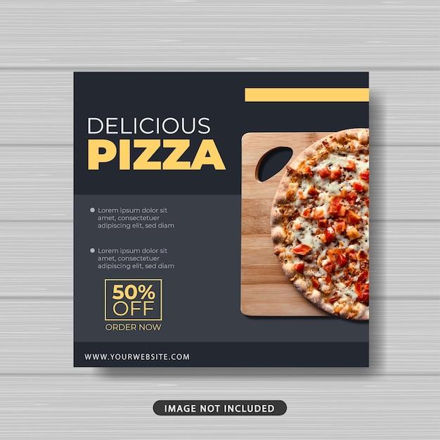 Bannière De Modèle De Publication De Médias Sociaux De Promotion De Vente De Nourriture Délicieuse Pizza Vecteur Premium
