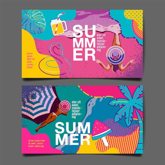 Bannière de modèle de vente d'été Vecteur Premium