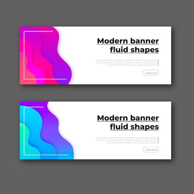 Bannière moderne avec des formes abstraites Vecteur gratuit