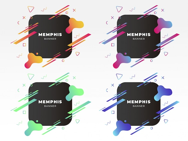 Bannière moderne de memphis avec des formes abstraites Vecteur gratuit