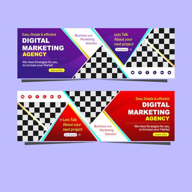 Bannière moderne promotion de l'agence de marketing numérique Vecteur Premium