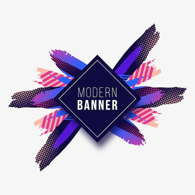 Bannière moderne avec des traits colorés Vecteur gratuit