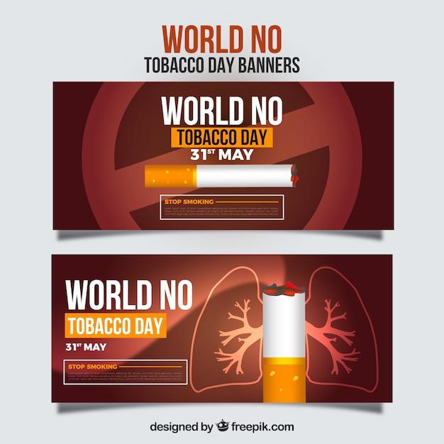 Bannière mondiale pas de jour du tabac avec date Vecteur gratuit