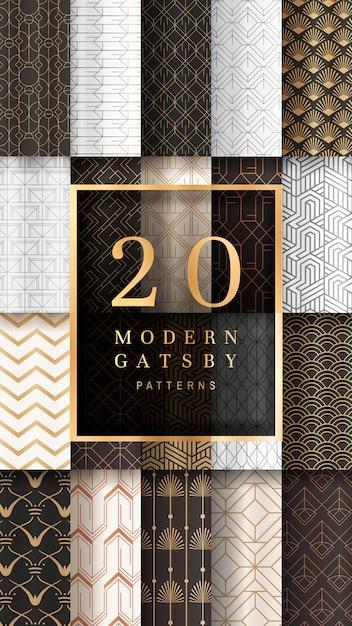 Bannière à motifs gatsby Vecteur gratuit