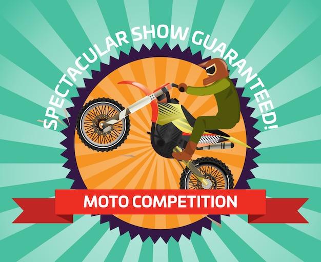 Bannière De Motocross Extrême Au Design Plat Vecteur Premium