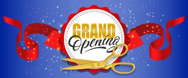Bannière mousseux bleu grand ouverture avec des ciseaux d'or, ruban rouge Vecteur gratuit