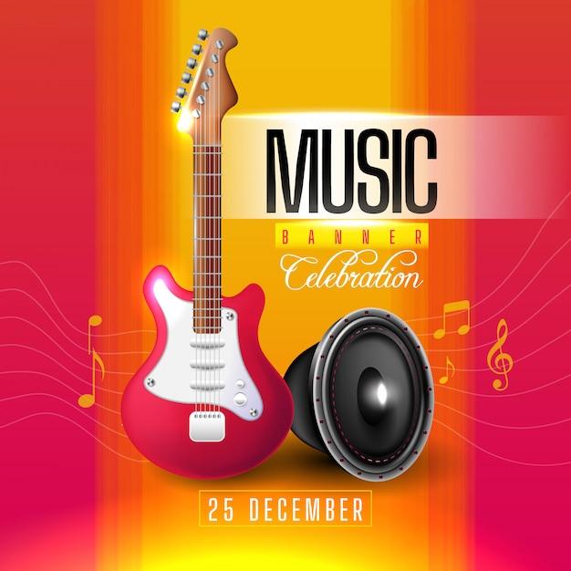 Bannière Musicale Avec Guitare Et Haut-parleur Vecteur gratuit