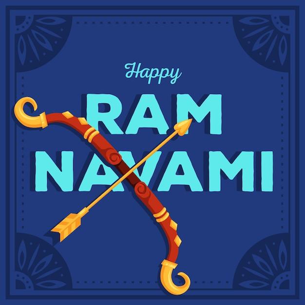 Bannière Navami Ram Avec Arc Et Flèche Vecteur gratuit