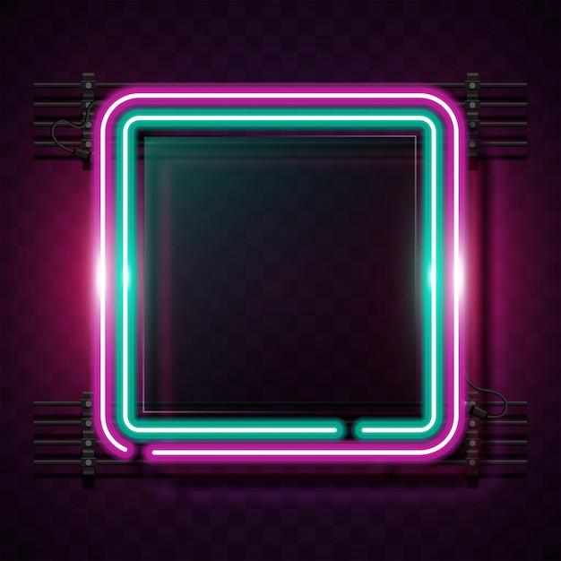 Bannière de néon carré arrondi. Vecteur Premium
