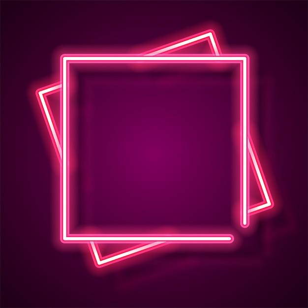 Bannière néon carré Vecteur Premium