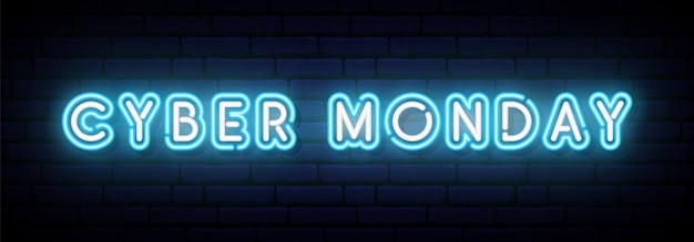 Bannière neon cyber monday. Vecteur Premium