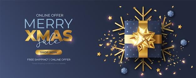 Bannière De Noël Avec Un Cadeau Bleu Réaliste Vecteur gratuit