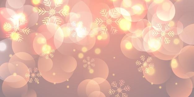 Bannière de noël avec des flocons de neige et des lumières de bokeh Vecteur gratuit