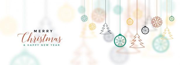 Bannière De Noël Joyeux Blanc Avec Décoratif Vecteur gratuit