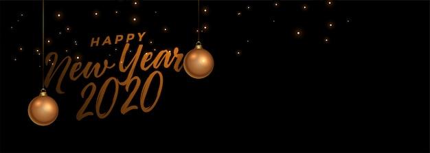 Bannière noire et dorée de bonne année Vecteur gratuit