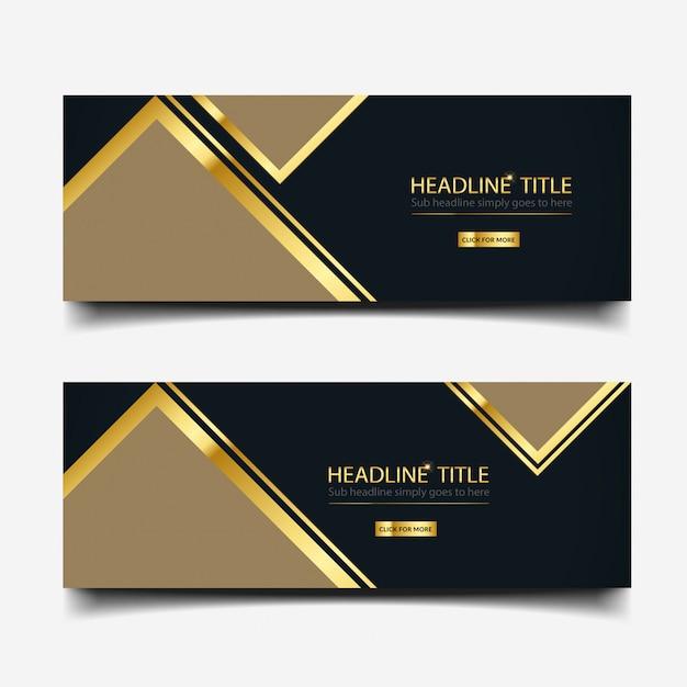 Bannière noire et or Vecteur Premium