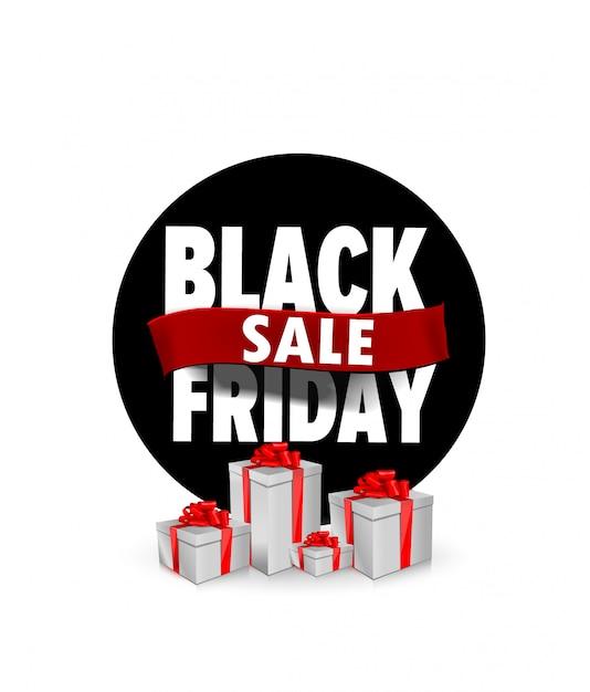 Bannière Noire Vendredi Design Plat à Vendre Avec Des Boîtes De Cadeaux Vecteur Premium