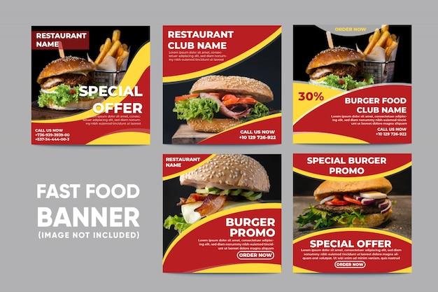 Bannière de nourriture pour la collecte de médias sociaux Vecteur Premium