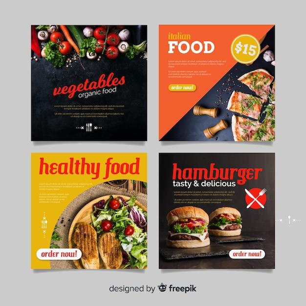Bannière de nourriture saine carrée photographique Vecteur gratuit