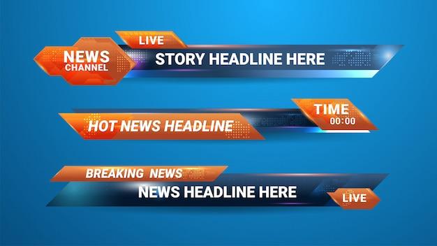 Bannière de nouvelles pour la chaîne de télévision Vecteur Premium