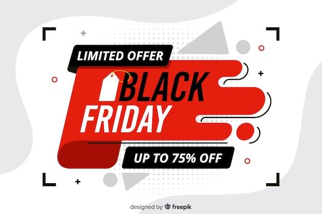 Bannière à offre limitée black vendredi design plat Vecteur gratuit