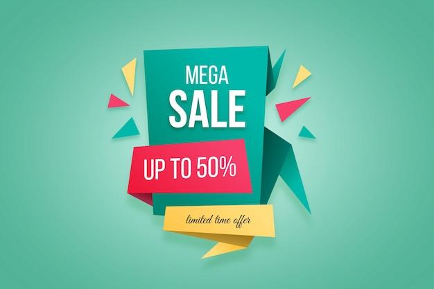 Bannière D'offre Spéciale Méga Vente Dans Un Style Origami Vecteur gratuit