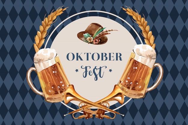 Bannière oktoberfest avec bière, chapeau tyrolien, blé et trompette Vecteur gratuit