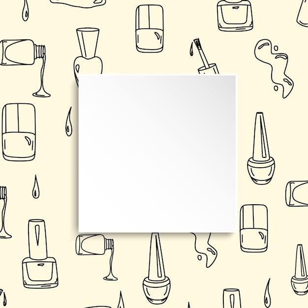 Bannière à Ongles Avec Motif De Manucure Doodle. Polonais Dessiné à La Main Et Vecteur Premium