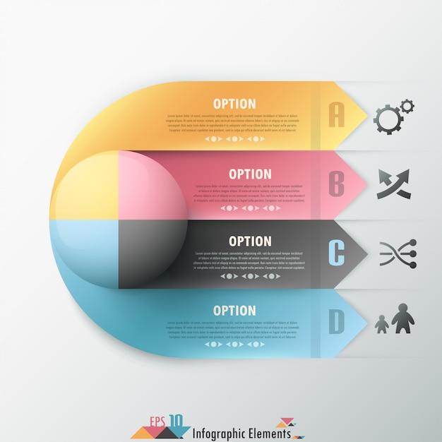 Bannière option infographie abstraite Vecteur Premium