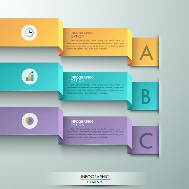 Bannière option d'infographie moderne avec 3 rubans Vecteur Premium