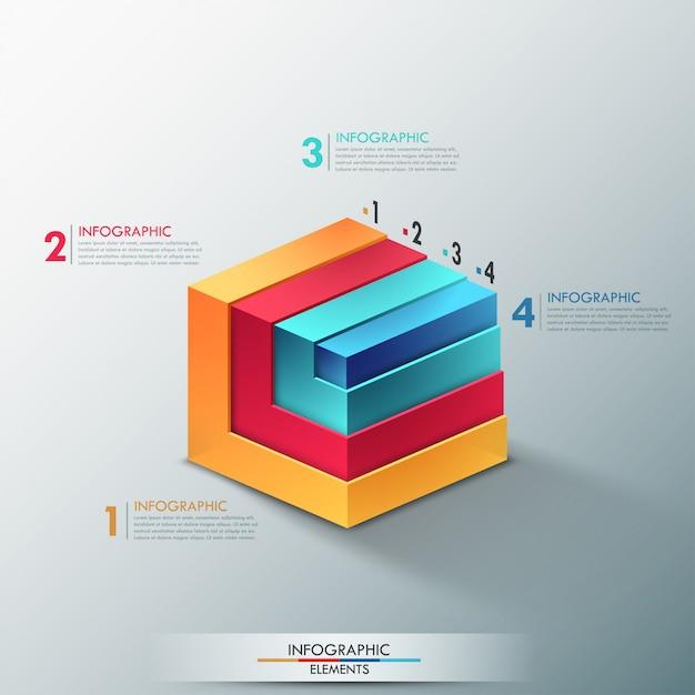 Bannière D'options 3d Moderne Infographie Vecteur Premium