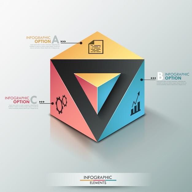 Bannière d'options infographie moderne 3d avec cube réaliste Vecteur Premium