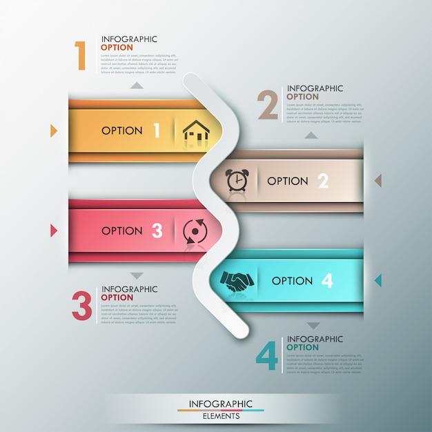 Bannière D'options D'infographie Moderne Avec 4 Flèches Vecteur Premium