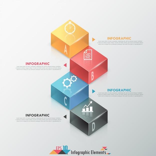 Bannière D'options Infographie Moderne Avec Des Blocs Colorés 3d Vecteur Premium