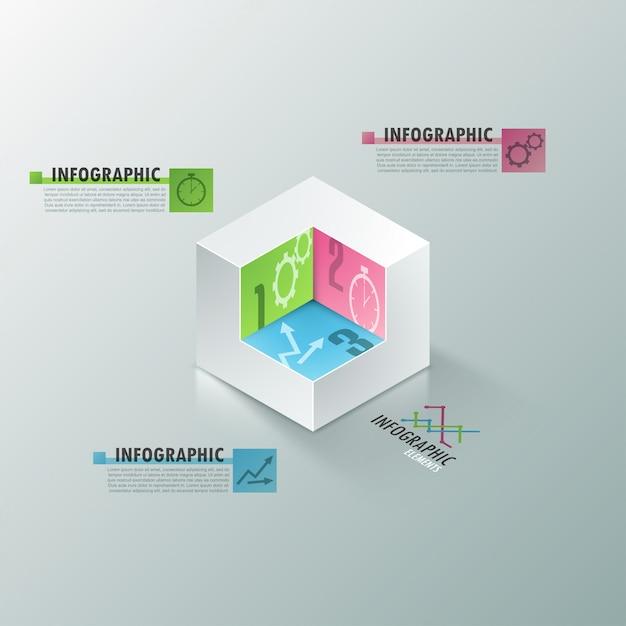 Bannière d'options infographie moderne avec cube blanc réaliste Vecteur Premium