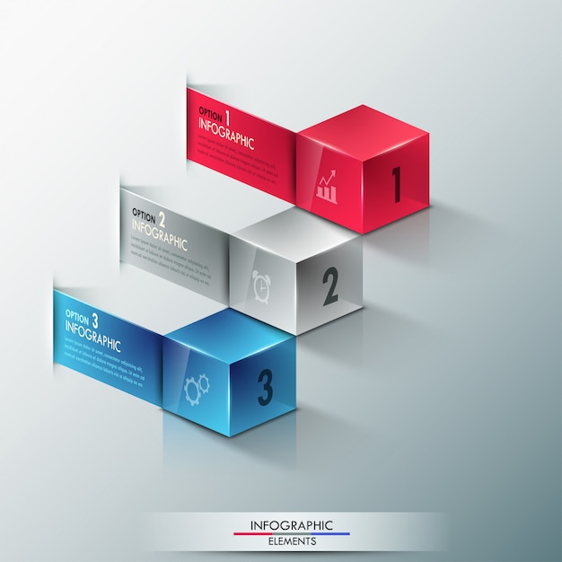 Bannière d'options d'infographie moderne avec des cubes Vecteur Premium