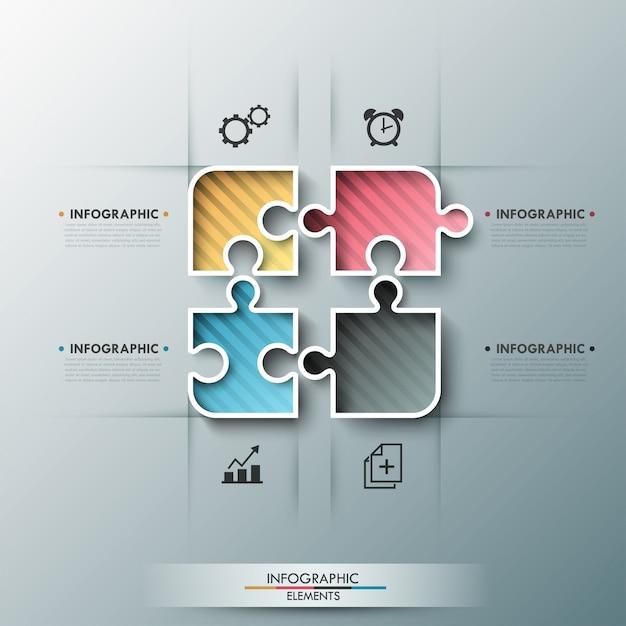 Bannière d'options d'infographie moderne avec des éléments de puzzle de couleur Vecteur Premium