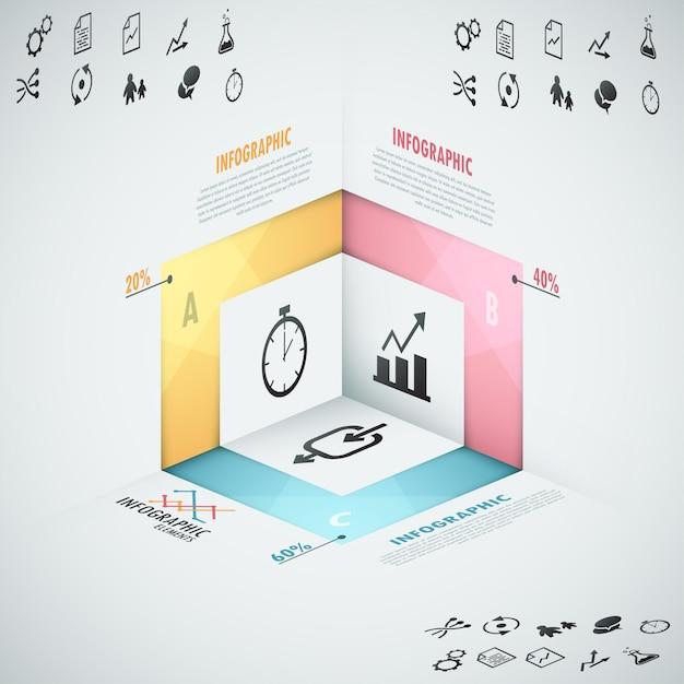 Bannière D'options Infographie Moderne Avec Des Formes 3d Réalistes Vecteur Premium