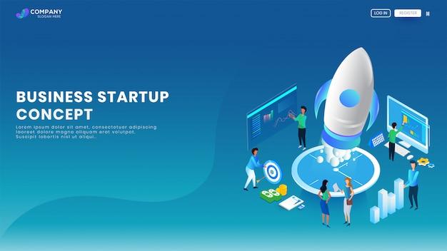 Bannière ou page de destination de création d'entreprise. Vecteur Premium