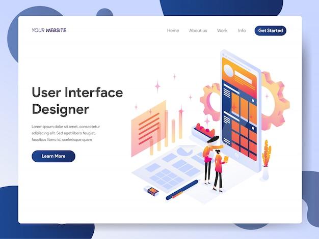 Bannière de la page de destination du concepteur d'interface utilisateur Vecteur Premium