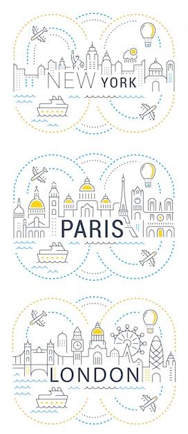 Bannière Et Page De Destination Du Site Web Paris, Londres, New York Vecteur Premium