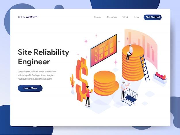 Bannière de la page de destination de l'ingénieur en fiabilité du site Vecteur Premium