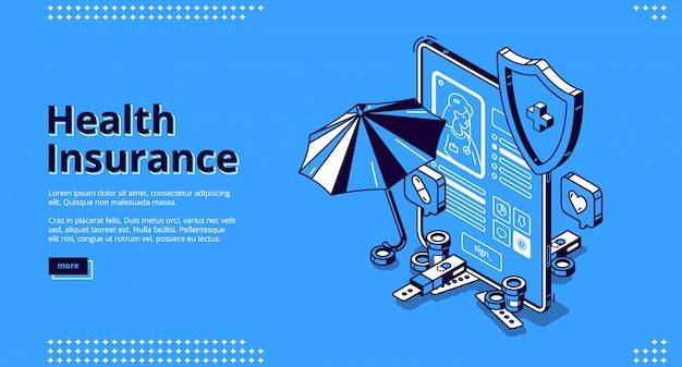Bannière De Page De Destination Isométrique D'assurance Maladie Vecteur gratuit