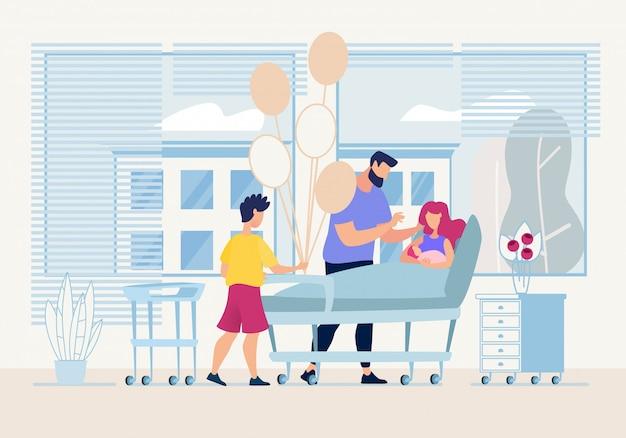 Bannière Papa Et Fils Aîné Sont Venus Visiter Newborn Flat. Vecteur Premium