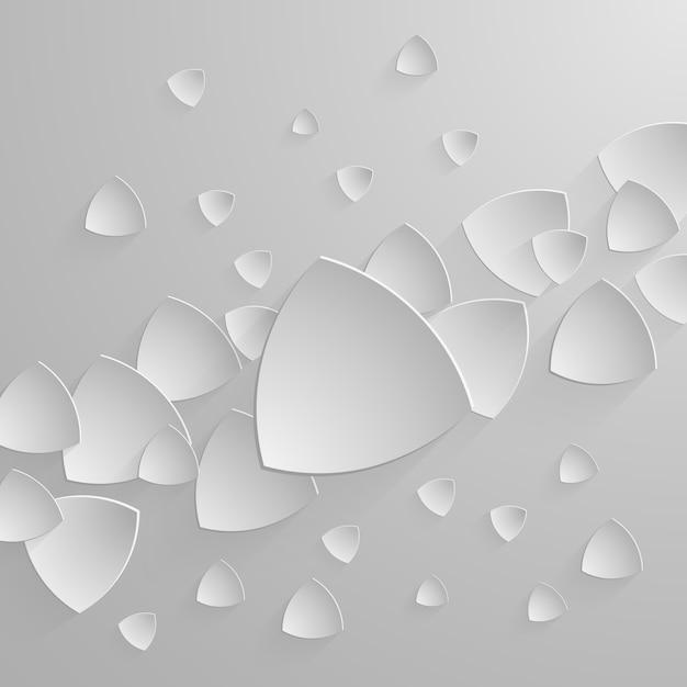 Bannière en papier sur fond abstrait triangle avec ombres portées Vecteur Premium