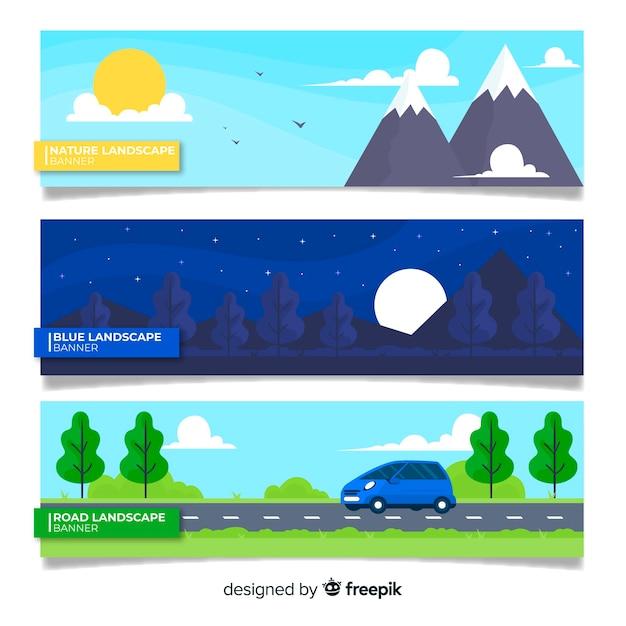 Bannière de paysage plat Vecteur gratuit