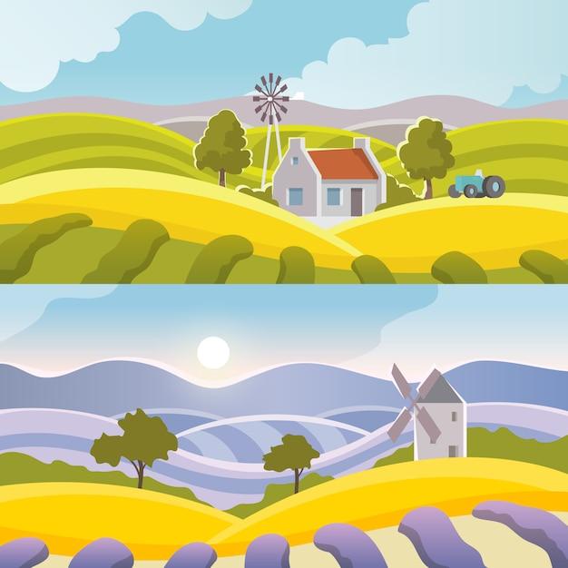 Bannière de paysage rural Vecteur gratuit