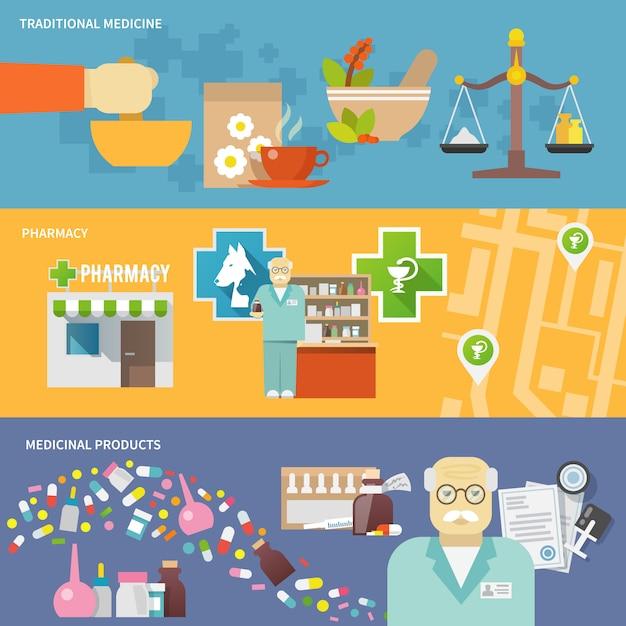 Bannière Pharmacien Vecteur gratuit